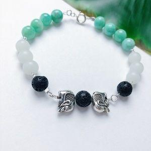Lava Rock Healing Bracelet Elephant Accent